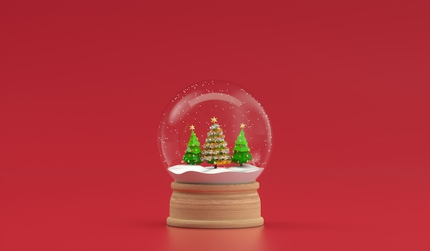 Christmas tree in snowball decoration isolated. 3d rendering