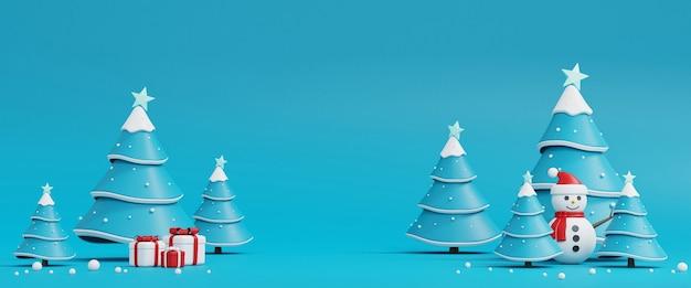 블루에 크리스마스 트리, 눈사람 및 선물 상자
