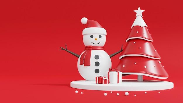 Рождественская елка, снеговик и подарочная коробка на красном