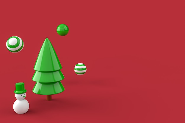 Christmas tree  and snowman minimalist wallpaper . 3d rendering . 3d illustration. merry christmas concept