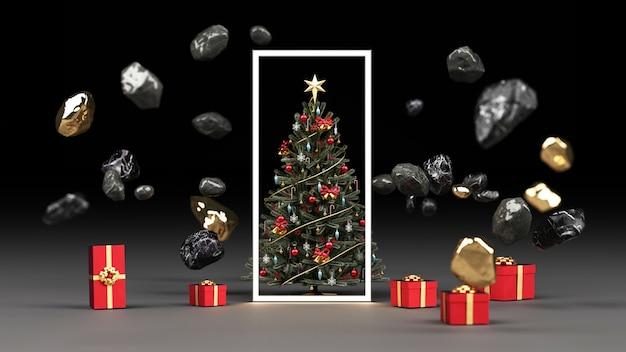 黒い大理石の岩と赤いギフトボックスのレンダリングで金に囲まれたクリスマスツリー
