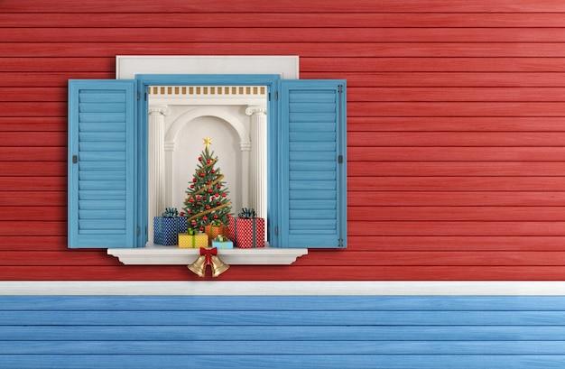 開いている青い窓からクリスマスツリー。 3dレンダリング