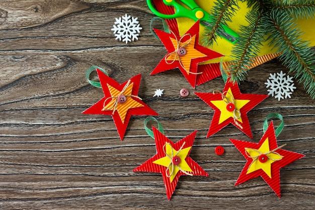 Christmas tree toys star gift handmade project of childrens creativity handicrafts