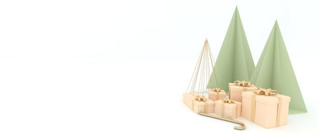 선물 상자와 흰색 배경 크리스마스 트리 지팡이. 3d 렌더링