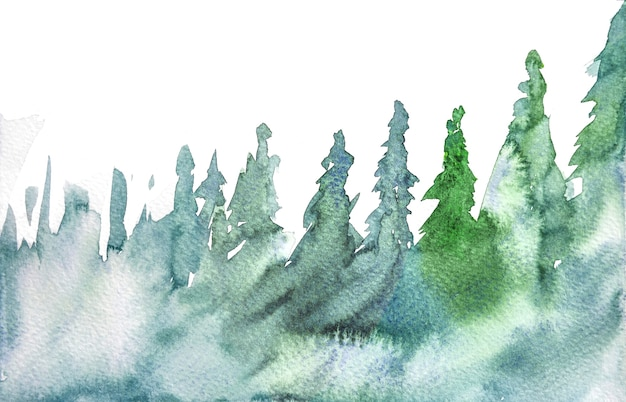 Christmas tree watercolor backgrounds, hand painting