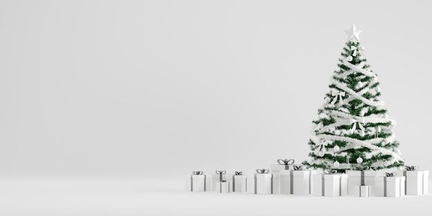 白い背景のギフトボックスとクリスマスツリーの冬の装飾