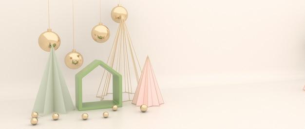 家と金色のボールとクリーミーな背景を持つクリスマスツリー。きらめく金色のボール。 3dレンダリング