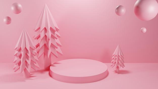 핑크 색상의 원형 연단이있는 크리스마스 트리