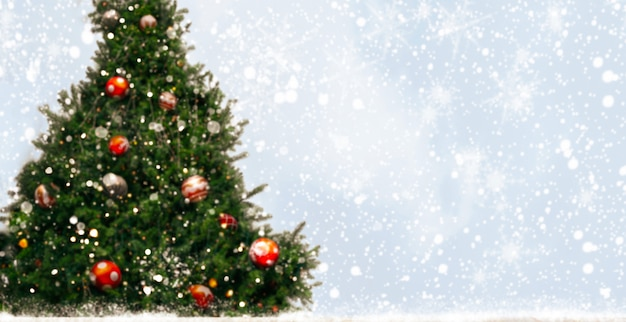 Christmas tree with decoration, light, snow flake. background