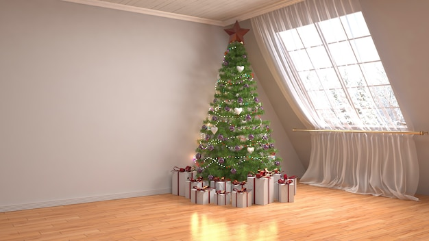 Christmas tree with decorations in the living room