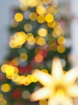 Christmas tree with defocused lights and star