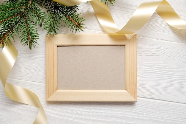 Christmas tree with frame and ribbon