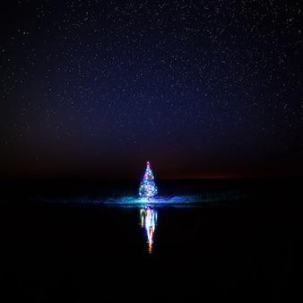 Рождественская елка с гирляндами на фоне ночного неба, отраженного в реке.