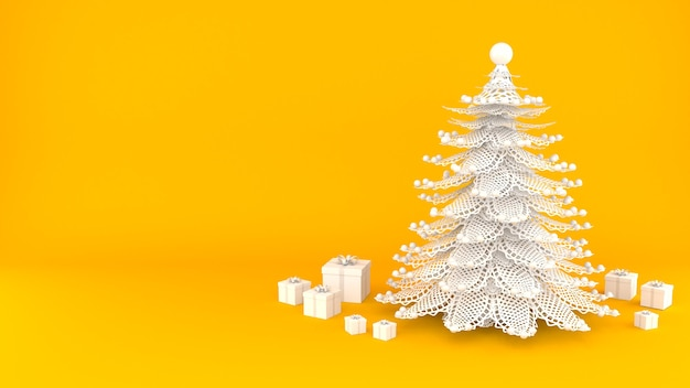 Christmas tree with gift box white color 3d render background