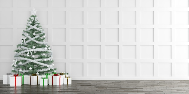 Christmas tree with gift boxes interior background