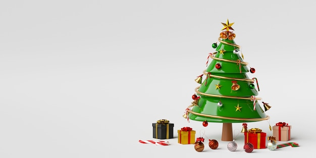 Christmas tree with gifts and christmas decorations 3d rendering