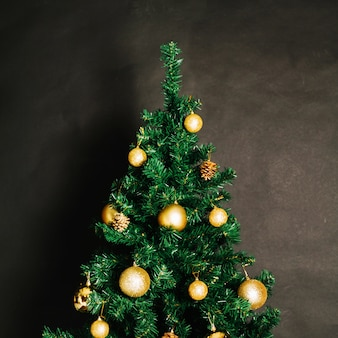 Christmas tree with golden balls