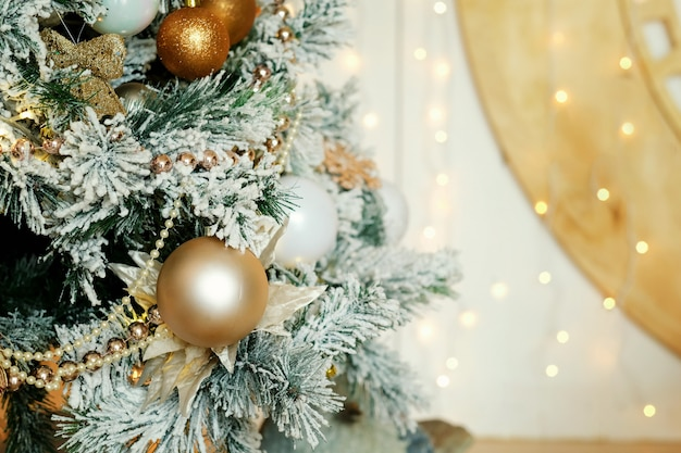Christmas tree with golden decoration background