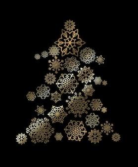 Рождественская елка с узором золотые снежинки