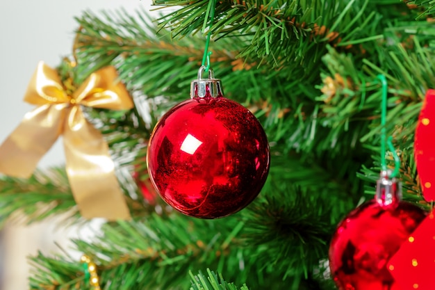 Christmas tree with ornaments, close-up