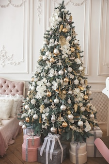 Christmas tree with presents. xmas background. holiday decoration