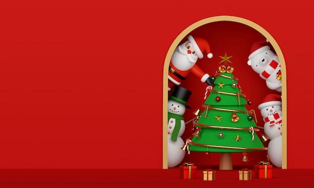 サンタクロースと友人の3dレンダリングのクリスマスツリー