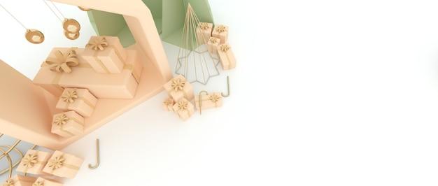 작은 집 크리스마스 트리 황금 구 공, 선물 상자 및 흰색 배경. 3d 렌더링