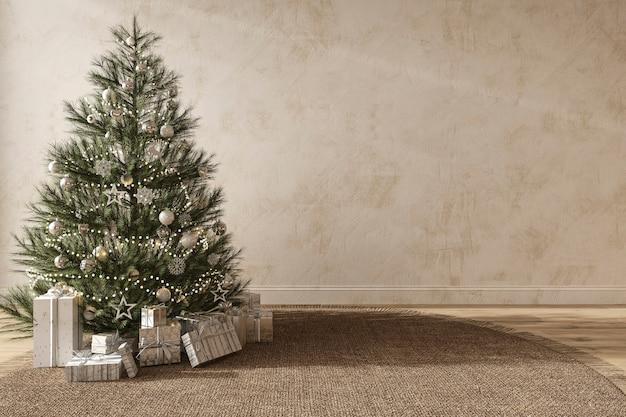 장난감과 선물이 있는 크리스마스 트리는 현대적인 인테리어 스칸디나비아 스타일의 3d 그림을 장식합니다.