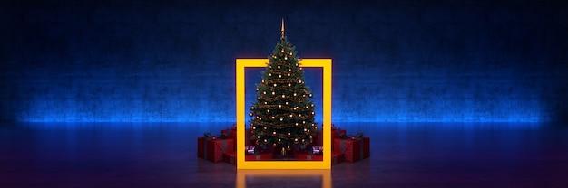 검은 배경 3d 렌더링에 노란색 프레임 크리스마스 트리