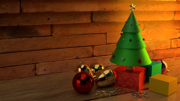 Christmas tree on wood table 3d rendering image for christmas celebration content.