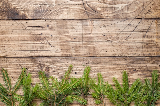 Christmas tree on wooden board