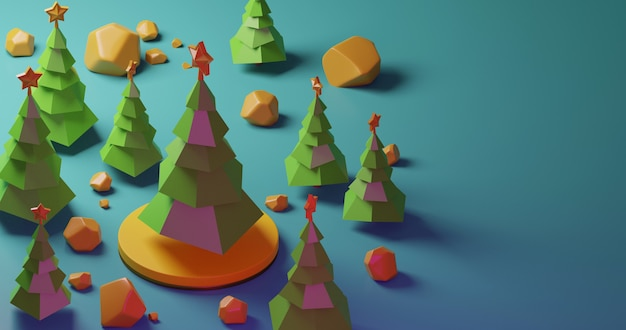 Christmas trees in the forest on yellow stage and yellow stones, low poly style. colorful 3d rendering holiday christmas new year concept
