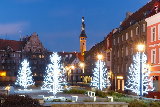 Christmas trees and town hall in medieval old town, tallinn, estonia