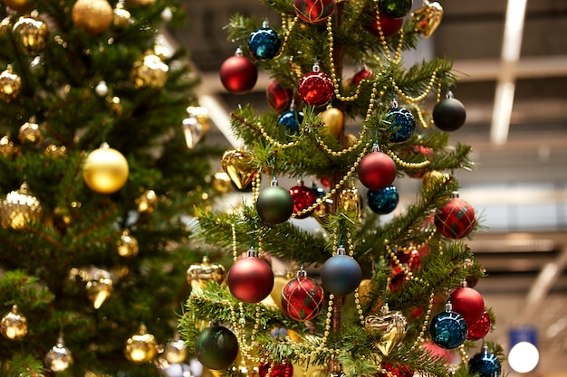 Christmas trees with yellow and red balls