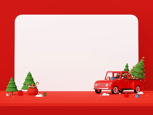 Christmas truck full of gifts and tree with copy space 3d rendering