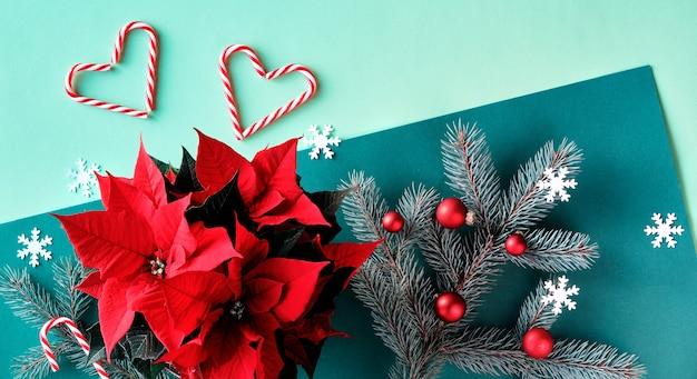 緑の紙の上のクリスマスのツートンカラーのお祭りの背景