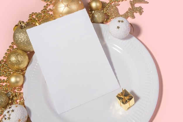 Christmas vertical 5x7 card mockup torn edges with festive table setting