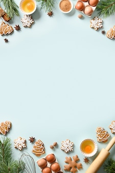 Christmas vertical cooking banner with traditional cookies with ingredients