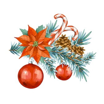 크리스마스 빈티지 인사말 카드입니다. 스프 루 스 지점, 흰색 배경에 고립 된 빨간 크리스마스 공