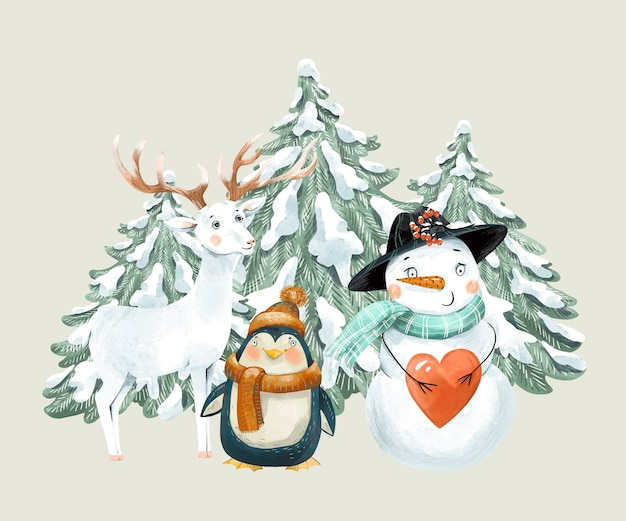 Christmas vintage illustration with cute white deer, penguin and snowman.