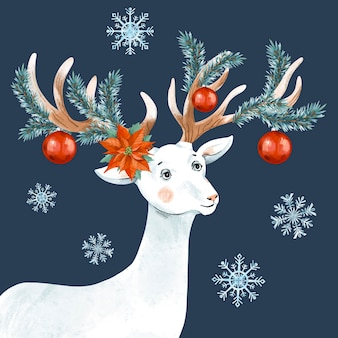 Christmas vintage illustration with cute white deer.