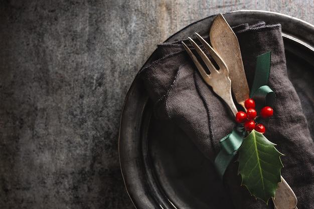 Рождественские старинные деревенские столовые приборы