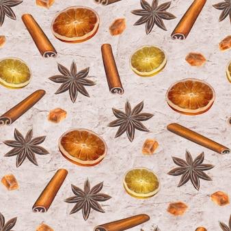 Рождественский винтажный бесшовный образец с анисовыми звездами, палочками корицы, кубиками сахара и дольками цитрусовых