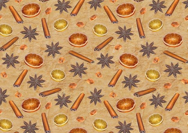 Рождественская винтажная поверхность с акварельными рисованными звездами аниса, палочками корицы, кубиками сахара и дольками цитрусовых