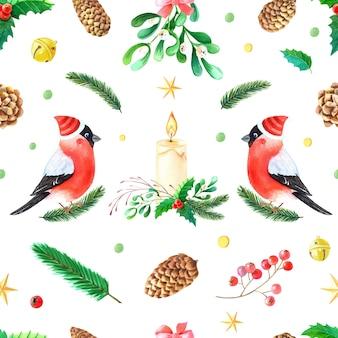 크리스마스 수채화 완벽 한 패턴입니다. 멋쟁이. 붉은 가슴 깃털을 가진 겨울 로빈 새.