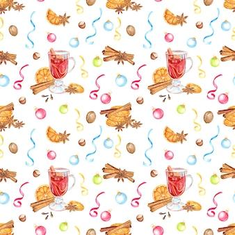 アニスの星、オレンジ、シナモンスティック、ホットワインのクリスマス水彩シームレスパターン。