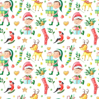 Christmas watercolor seamless pattern with elf boy