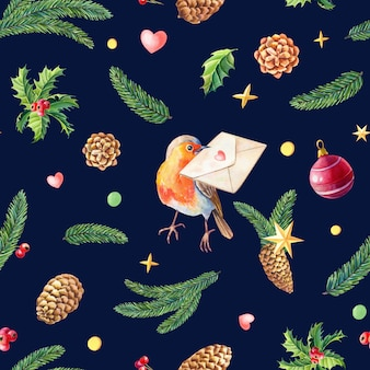 Christmas watercolor seamless pattern with robin bird