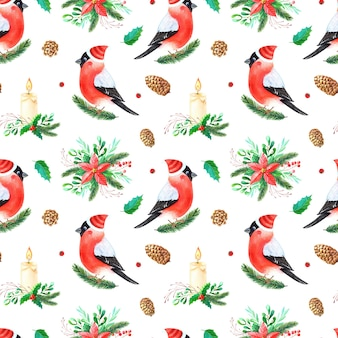 Christmas watercolor seamless pattern.