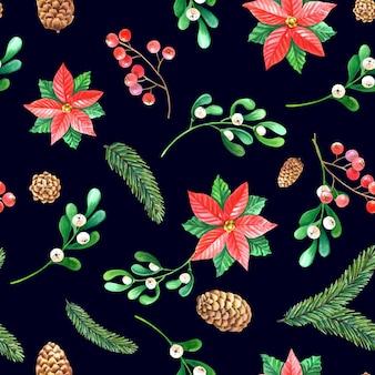 Christmas watercolor seamless pattern.